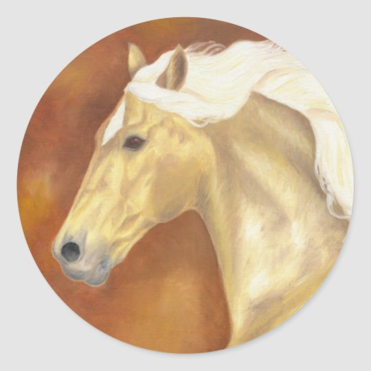 Palomino Galloping Classic Round Sticker