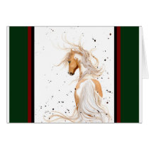 Palomino Horse Christmas Card by Bihrle