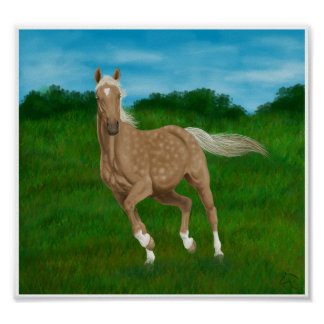 palomino horse in meadow posters