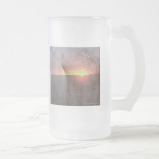 Palomino Horse in Sunrise 16 Oz Frosted Glass Beer Mug
