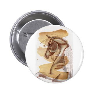 Palomino Horse On Gold Watercolor Wash Pinback Button