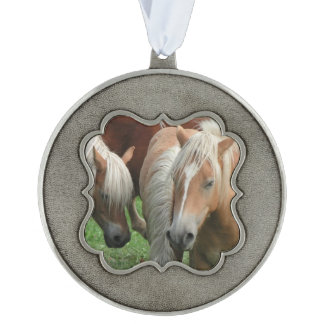 Palomino Horse Scalloped Pewter Christmas Ornament