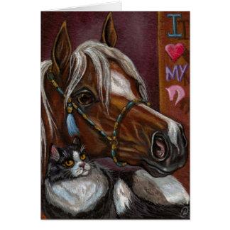 PALOMINO HORSE Tuxedo Cat Note Card