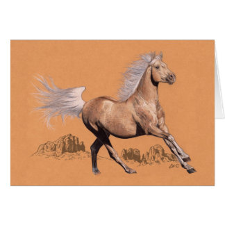 Palomino in colored pencil card