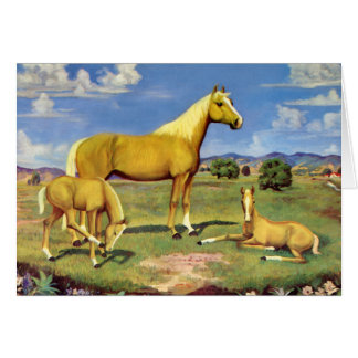 Palomino Mare and Colts Greeting Cards