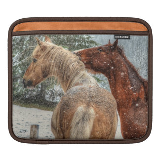 Palomino Paint & Chestnut Horse Friends and Snow iPad Sleeve