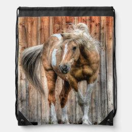 Palomino Paint Horse and Barn Equine photo Drawstring Bag