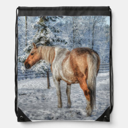 Palomino Paint Horse in Snow 2 Equine photo Drawstring Backpack