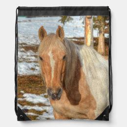 Palomino Paint Horse in Snow 3 Equine photo Drawstring Bag