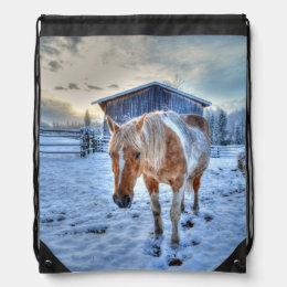 Palomino Paint Horse in Snow Equine photo Drawstring Bag