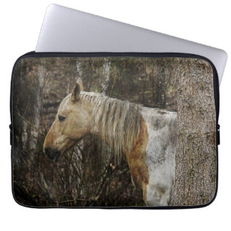 Palomino Paint Keeping Dry. Horse Equine Artwork Laptop Sleeve