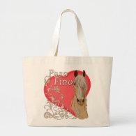 Palomino Paso Fino Heart Scroll Tote Bags