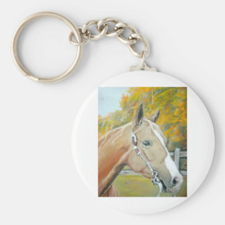 Palomino, pastel del caballo llavero redondo tipo pin