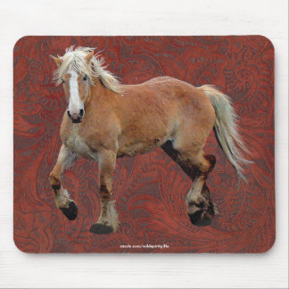 Palomino Percheron Art on Faux-leather BG Mousepad