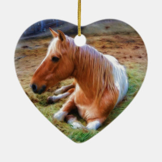 Palomino Pinto Horse Resting Artwork Ceramic Ornament