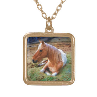 Palomino Pinto Horse Resting Artwork Square Pendant Necklace