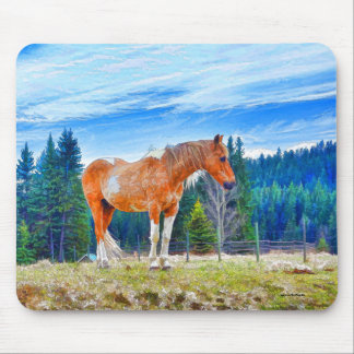 Palomino Pinto in Field and Forest Scene Mouse Pad