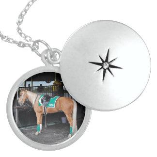 Palomino Pony at Belmont Park Round Locket Necklace