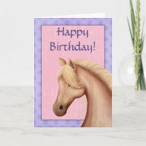 Palomino Pony Purple and Pink Horse Happy Birthday Card