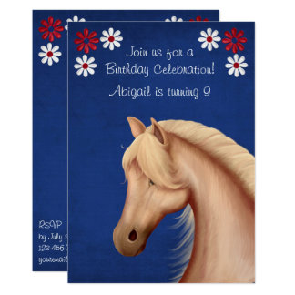 Palomino Pony Red White Blue Horse Birthday Invite