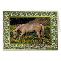 Palomino Quarter Horse Blank Christmas Card