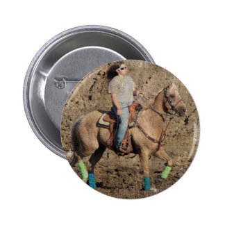 Palomino Rodeo Horse Warmup Grunge Buttons
