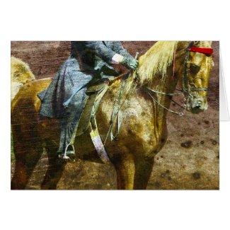 Palomino Saddleseat Grunge Greeting Cards