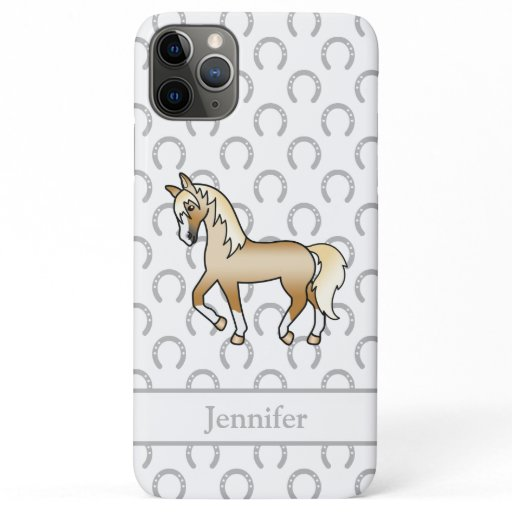 Palomino Trotting Horse Cute Cartoon Illustration iPhone 11 Pro Max Case