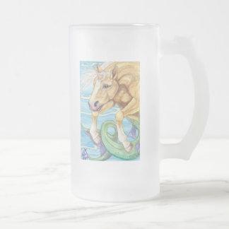 Palomino Unicorn Sea Horse Fantasy Art 16 Oz Frosted Glass Beer Mug