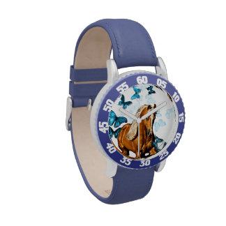 Palomino y mariposas reloj