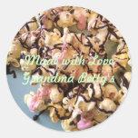 Palomitas del caramelo etiquetas redondas