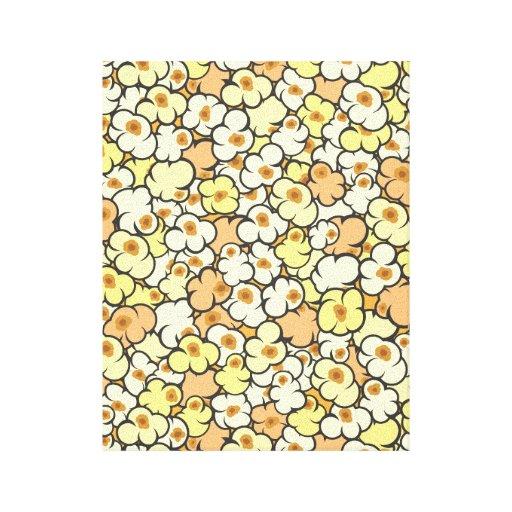 Palomitas del dibujo animado impresión en lienzo estirada