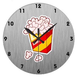 Palomitas; Metal-mirada cepillada Reloj Redondo Grande