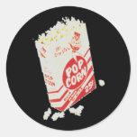 Palomitas retras del cine del vintage etiquetas redondas