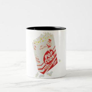 Palomitas retras del cine del vintage taza dos tonos