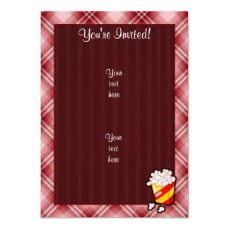 """Palomitas rojas de la tela escocesa invitación 5"""" x 7"""""""