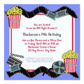 Palomitas y una película invitación 13,3 cm x 13,3cm