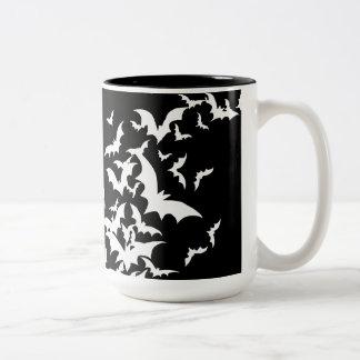 Palos blancos en negro taza dos tonos
