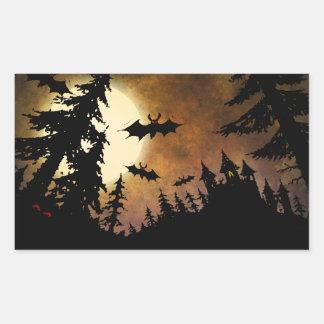 Palos, castillo y luna de Halloween Pegatina Rectangular