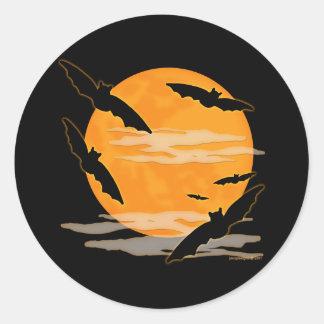 Palos de Halloween de la Luna Llena Pegatina Redonda