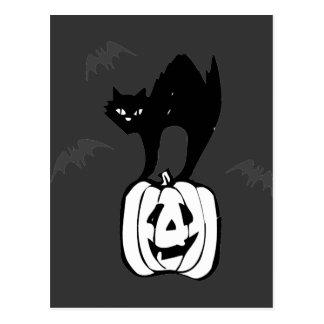 Palos de Jack-o del gato negro Postal