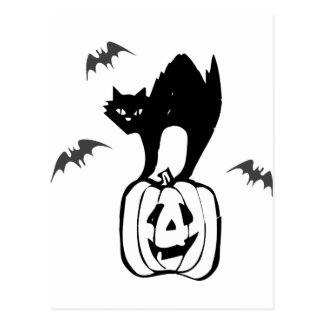 Palos de Jack-o del gato negro Postales