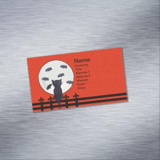 Palos de la luna de la cerca del gato negro tarjetas de visita magnéticas (paquete de 25)