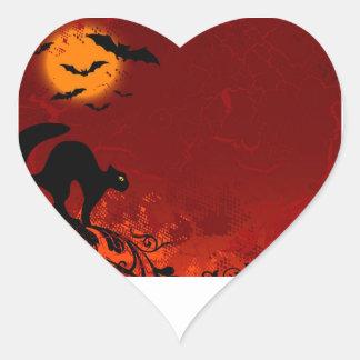 Palos, gato negro, Luna Llena Halloween Pegatina En Forma De Corazón