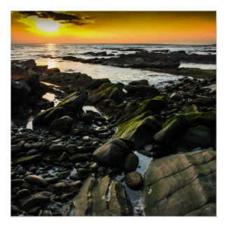 Palos Verdes California Low Tide Sunset Poster
