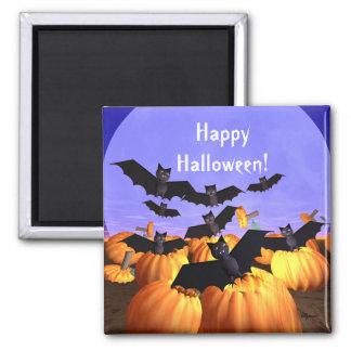 Palos y calabazas de Halloween Imán Cuadrado
