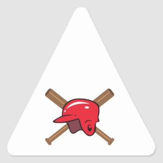 Palos y casco pegatina triangular