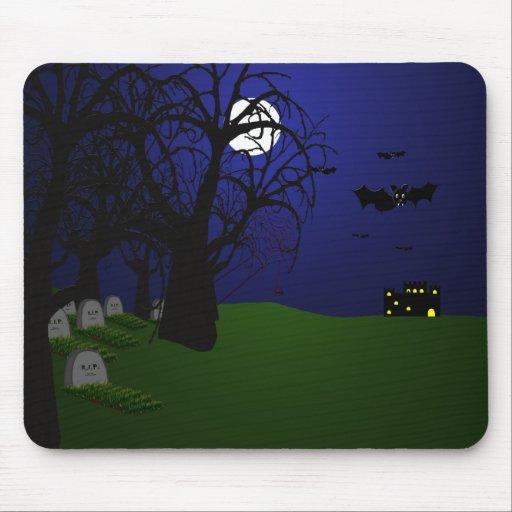 Palos y cementerio de Halloween Tapete De Ratones
