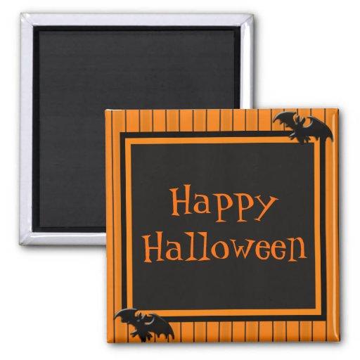 Palos y diseño de Halloween de las rayas Imán Cuadrado