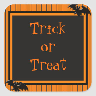 Palos y diseño de Halloween de las rayas Calcomanías Cuadradass